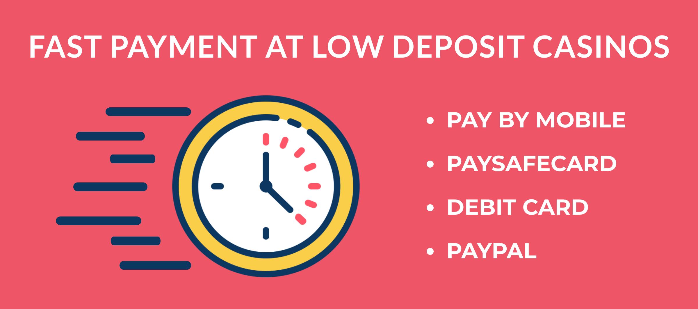 fast payment methods at low deposit casinos